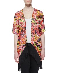 Romeo And Juliet Couture Floral Print Fringe Hem Kimono Red Black