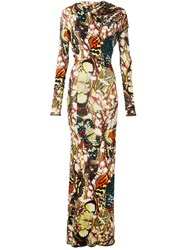 Jean Paul Gaultier Vintage Butterfly Print Fitted Dress Multicolour