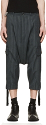 Comme Des Garcons Navy Pinstriped Harem Trousers