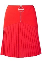 Givenchy Pleated Silk Blend Chiffon Trimmed Wool Mini Skirt Red