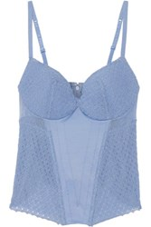 La Perla Greta Tulle Paneled Stretch Satin Bustier Blue
