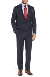 Peter Millar Classic Fit Check Wool Suit Navy