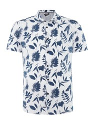 Linea Burns Floral Monochrome Short Sleeve Shirt White