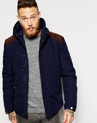 Asos Quilted Hooded Jacket With Cord Yoke In Navy