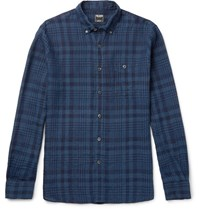 Todd Snyder Slim Fit Button Down Collar Checked Linen Shirt Blue