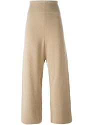 Stella Mccartney Ribbed High Waist Trousers Nude And Neutrals