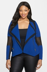 City Chic 'Mono' Ponte Moto Jacket Plus Size Cobalt