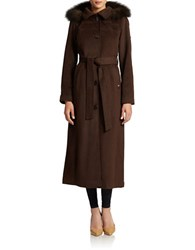 Ellen Tracy Hooded Maxi Coat With Fox Fur Trim Coffee