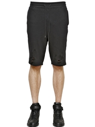 Miharayasuhiro Destroyed Cotton Jogging Shorts Black