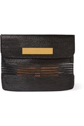 Balenciaga Cable Mesh Paneled Glossed Raffia Effect Clutch