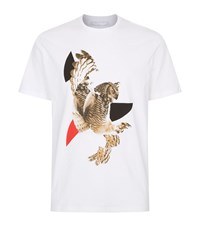 Neil Barrett Modernist Owl Print T Shirt Male White