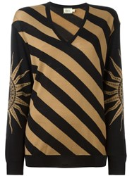 Fausto Puglisi Striped V Neck Sweater