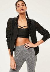 Missguided Active Black Woven Mesh Airtex Sports Jacket