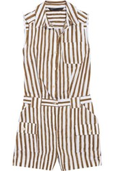 Marc By Marc Jacobs Striped Cotton Blend Playsuit Army Green