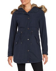 Parka London Faux Fur Trimmed And Lined Navy
