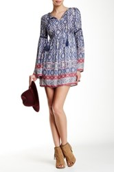 Iris Printed Bell Sleeve Dress Blue