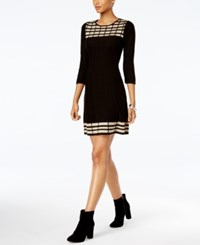 Jessica Howard Petite Patterned Sweater Dress Charcoal Cream