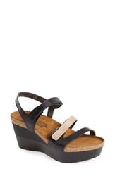 Naot Footwear Women's Naot 'Canaan' Wedge Sandal Black Beige