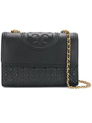 Tory Burch Fleming Convertible Shoulder Bag Lamb Skin Black
