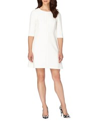 Tahari By Arthur S. Levine Solid A Line Seamed Dress Ivory White