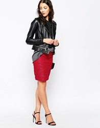 Noisy May Lace Bodycon Skirt Red