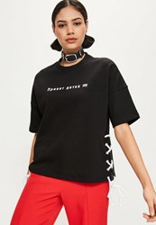 Missguided Black Lace Up Detail Graphic T Shirt