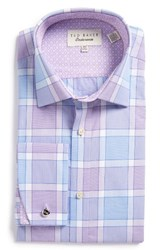 Ted Baker Men's Big And Tall London Needle Trim Fit Check Dress Shirt Purple