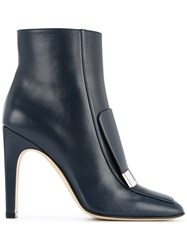 Sergio Rossi Logo Plaque Ankle Boots Lamb Skin Leather Blue
