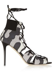 Jimmy Choo Myrtle Camouflage Print Nubuck Sandals Gray