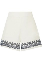 J.Crew Embroidered Linen Shorts Ivory