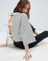Asos Top With Kimono Sleeve And Tie Back In Textured Stripe Multi