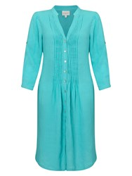 East Linen Pintuck Dress Blue