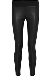 Rag And Bone Glasgow Leather Paneled Stretch Cotton Blend Skinny Pants