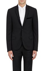 Lanvin Men's Velvet Trimmed Worsted Two Button Sportcoat Black