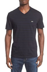Lacoste Men's Stripe V Neck T Shirt Black Navy Blue