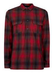 Topman Red And Black Shadow Check Overhead Casual Shirt