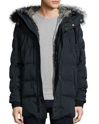 Andrew Marc New York Kent Quilted Down Coat With Removable Fur Trimmed Hood Black