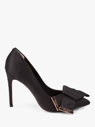 01804853d42 Ted Baker Ines Stiletto Heel Bow Detail Court Shoes Black Satin