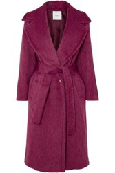 Agnona Belted Alpaca And Wool Blend Coat Pink