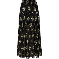 River Island Womens Black Floral Print Tiered Maxi Skirt