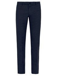 Incotex Slim Fit Linen Blend Chino Trousers Navy
