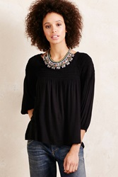 Meadow Rue Smocked Peasant Top Black