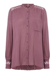 Free People The Best V Neck Long Sleeve Blouse Purple