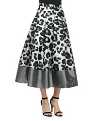 Sachin And Babi Noir Wisteria Leopard Print Pleated Midi Skirt