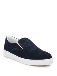 Bottega Veneta Dodger Intrecciato Slip On Suede Sneakers Navy
