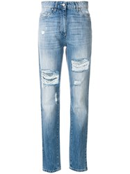 Moschino Distressed Denim Trousers Blue