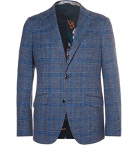 Etro Unstructured Checked Cotton And Wool Blend Blazer Blue