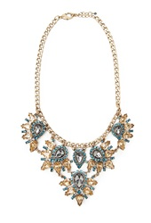 Forever 21 Rhinestone Petal Statement Necklace Antic Gold Blue