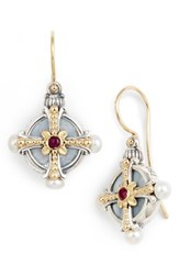 Konstantino Etched Silver Pearl And Ruby Drop Earrings Silver Gold Red