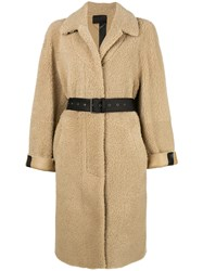 Prada Belted Coat Nude And Neutrals